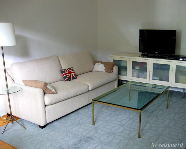 Rectangular Brass and glass coffee table on rug