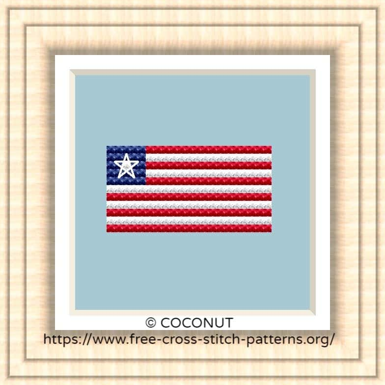 NATIONAL FLAG OF LIBERIA CROSS STITCH CHART