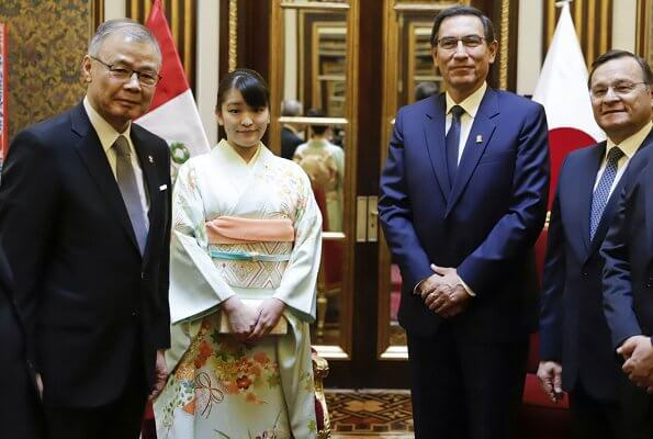 Japanese Princess Mako met with Peruvian President Martin Vizcarra at the Palace of Goverment in Lima