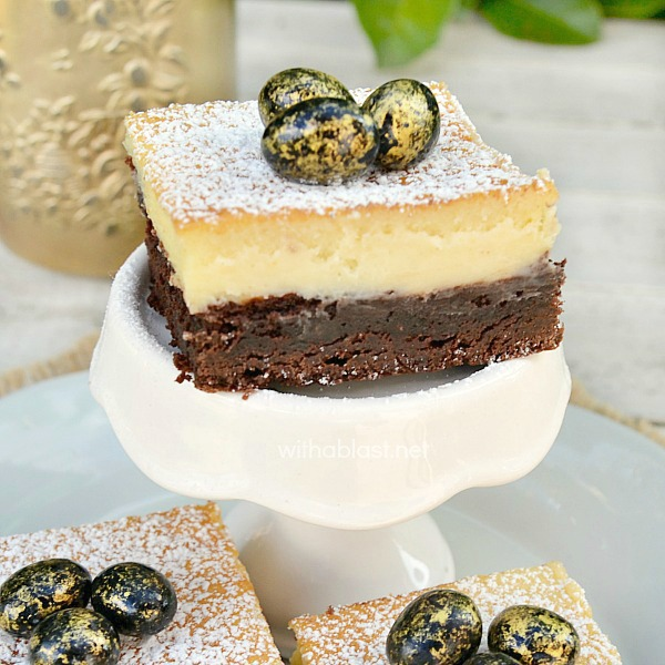 Brownie Cheesecake Bars ~ The chewy Brownie and the smooth, creamy Cheesecake layer makes the best combination ever and is perfect for Easter