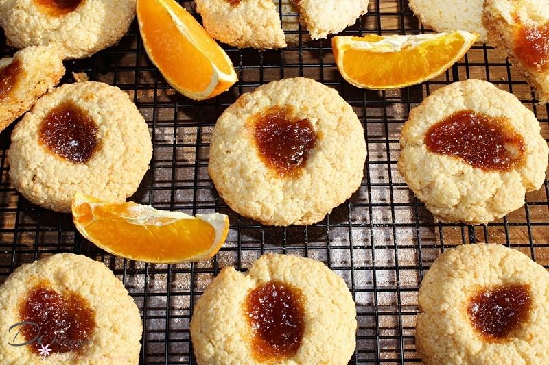 Pomarańczowe ciasteczka z kleiku ryżowego z konfiturą