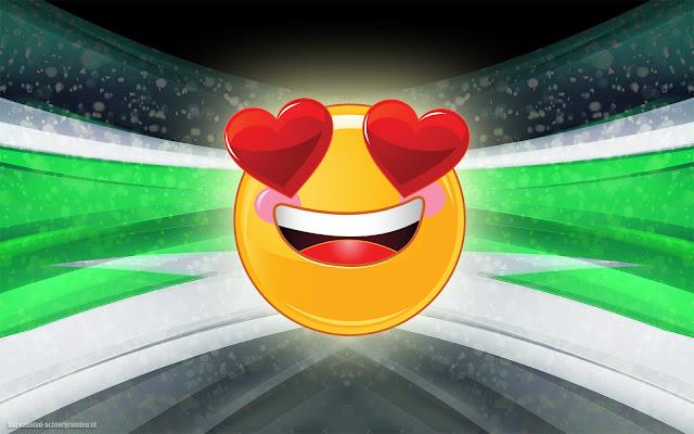 Gele smilie met rode liefdes hartjes in 3D