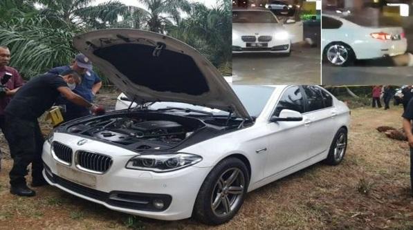 Kes Bunuh Stesen Minyak Taman Pelangi, Kereta BMW Putih Ditemui Di Ladang Sawit Tanpa Nombor Plat