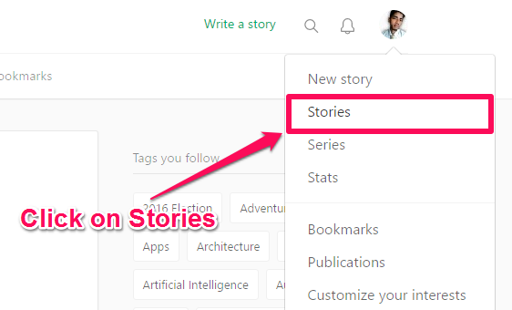 Click on Stories under the Profile Icon