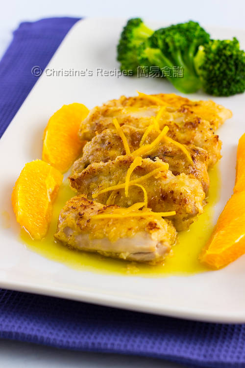 煎雞扒配香橙汁 Pan-fried Chicken Thigh in Orange Sauce01