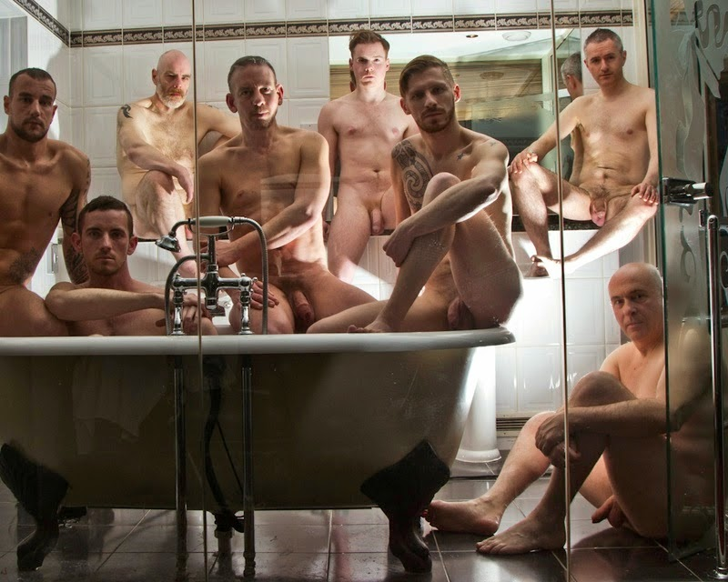 Adult indian slim sadhu yogi naked bald head man bathing in hot stock photo