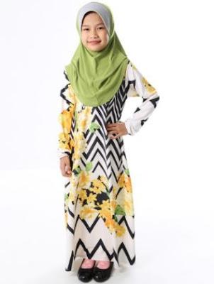 contoh desain baju muslim anak masa kini