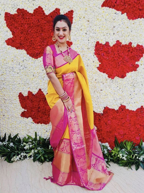 Preeta Mustard Yellow Pink Saree