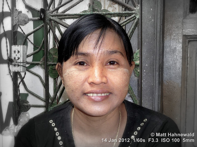Burma, Myanmar, Yangon, Burmese woman, people, portrait, headshot, focal black and white, thanaka