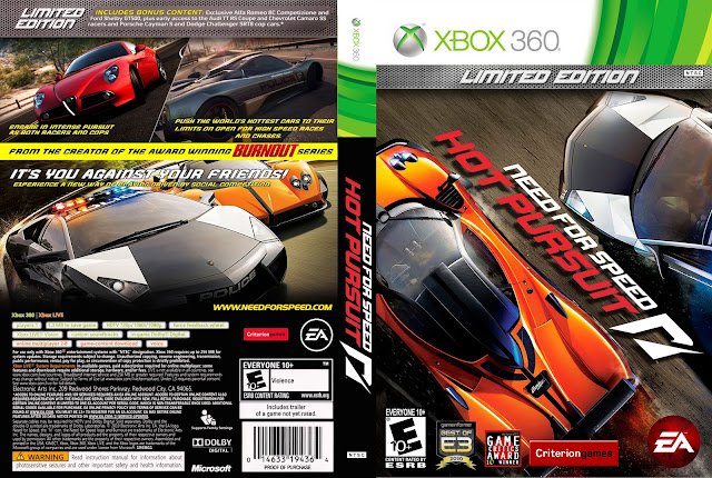 Capa Need For Speed Hot Pursuit Limited Edition Xbox 360