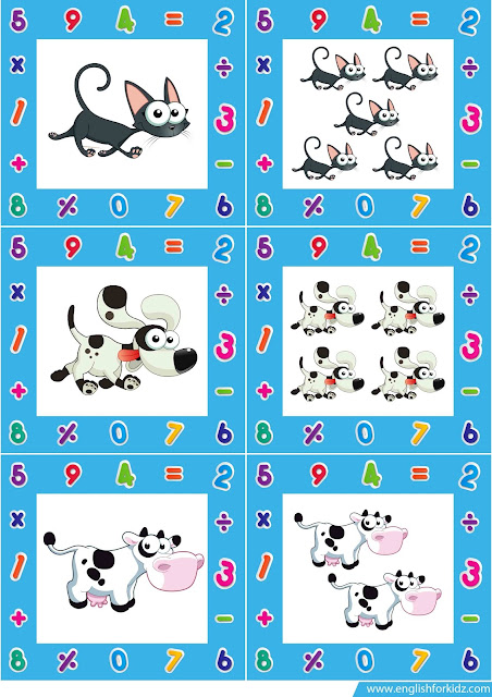 singular plural noun flashcards, farm animals