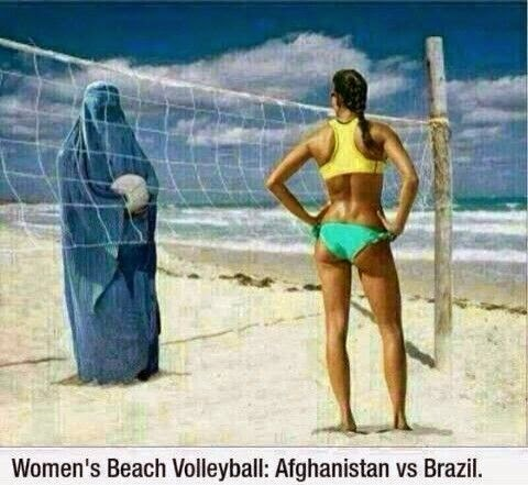 Funny Burka Muslim Afghanistan vs Brazil Women's Beach Volleyball Joke Picture