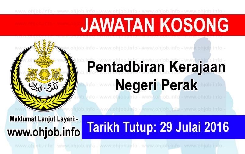 Jawatan Kerja Kosong Pentadbiran Kerajaan Negeri Perak logo www.ohjob.info julai 2016