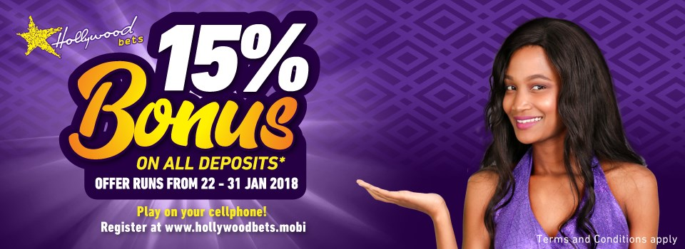 Sun Met 15% Bonus Promotion at Hollywoodbets. 15% Bonus on all deposits up to R20,000! Terms and Conditions apply.
