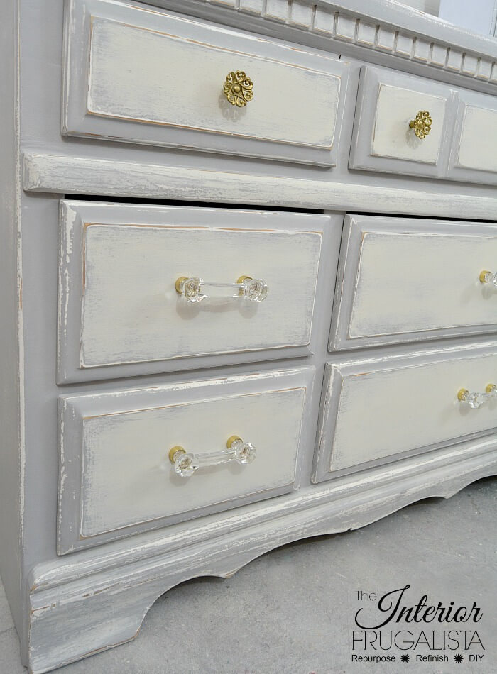 Farmhouse Dresser Makeover Glass Handles