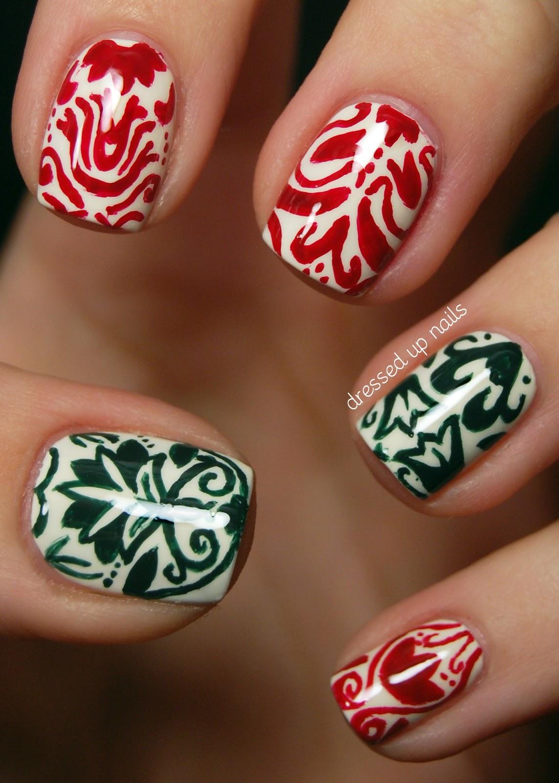 Christmas Damask, Holiday Nails, Nailart, Christmas Nails