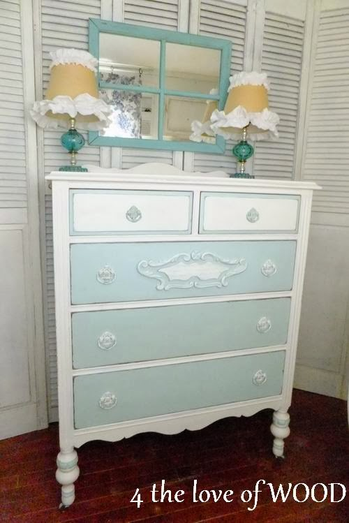 4 the love of wood PAINTING A TWO COLOR DRESSER   blue ...