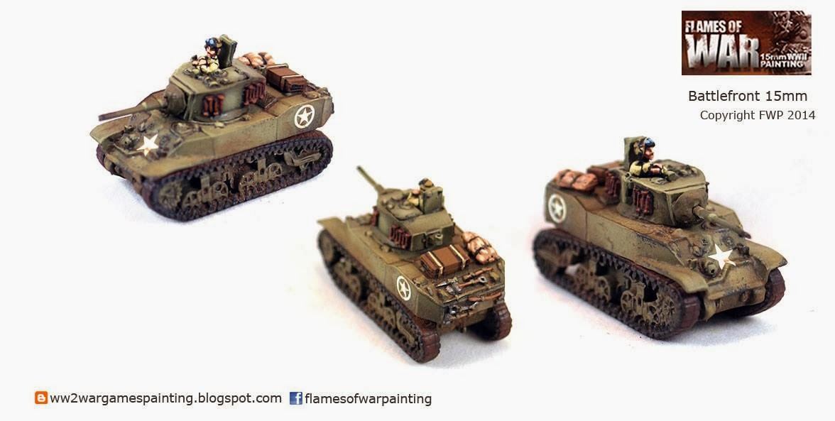 Painted WW2 Tanks. Stuart Light Tank battlefront 15mm