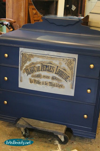 boho french indigo blue stencilled dresser makeover gold accents
