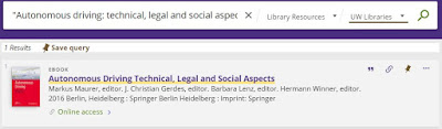 "Photograph of title search for ""Autonomous driving: technical, legal and social aspects"" in UW Libraries catalog."