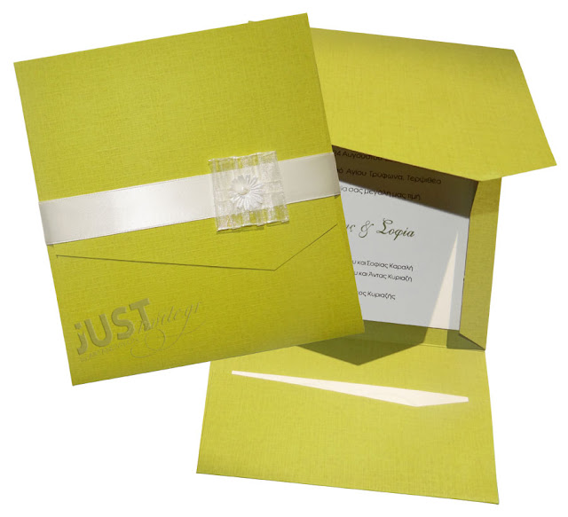 Lime color wedding invitations