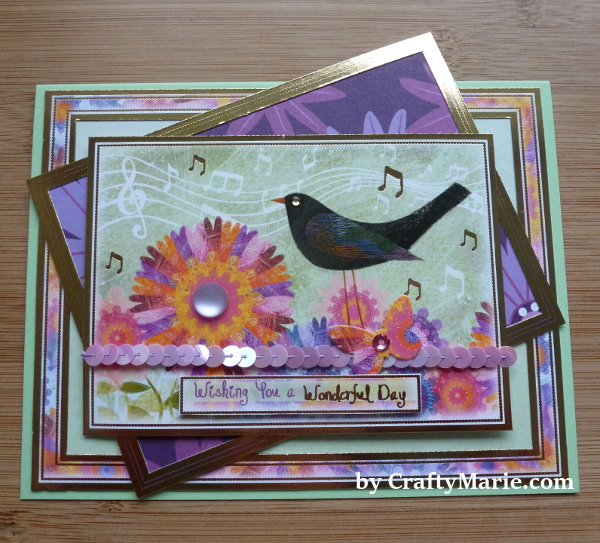 Wishing you a wonderful day rectangular bird and flower card layered with 3D foam pads Hunkydory magazine freebie