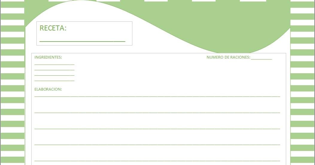 Plantillas de tarjetas para recetas de cocina | Hojas Excel fácil: