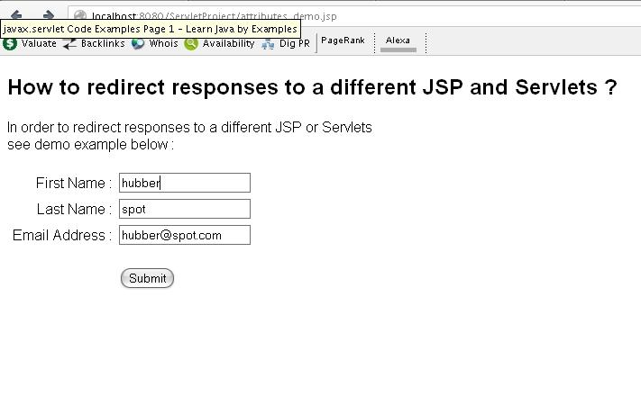 Javax response redirect
