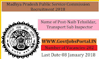 Madhya Pradesh Public Service Commission Recruitment 2018 – 202 Naib Tehsildar, Transport Sub Inspector