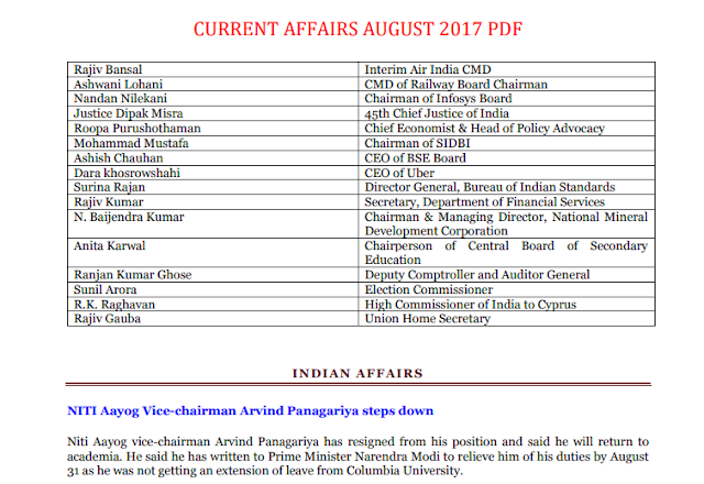 Current Affairs August 2017 Summary in PDF [English] download