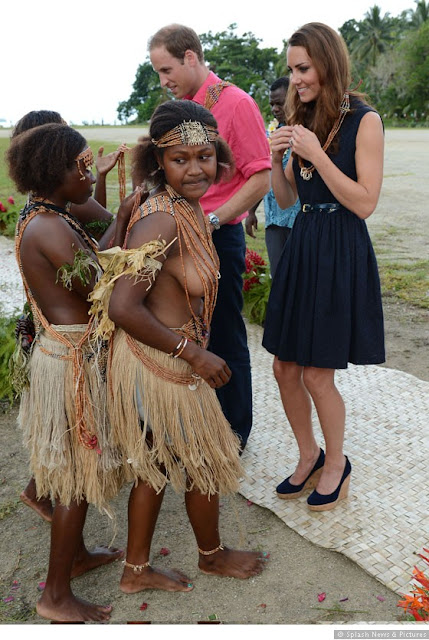 Kate Middleton and Prince WIlliam are welcomed to Marau Solomon Islands 0912