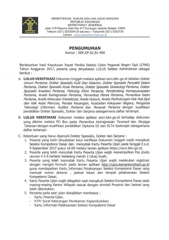 Cek Pengumuman Seleksi Administrasi CPNS Kementerian Hukum dan HAM RI (Kemenkumham) Tahun 2017