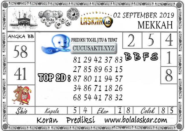 Prediksi Togel MEKKAH LASKAR4D 03 SEPTEMBER 2019