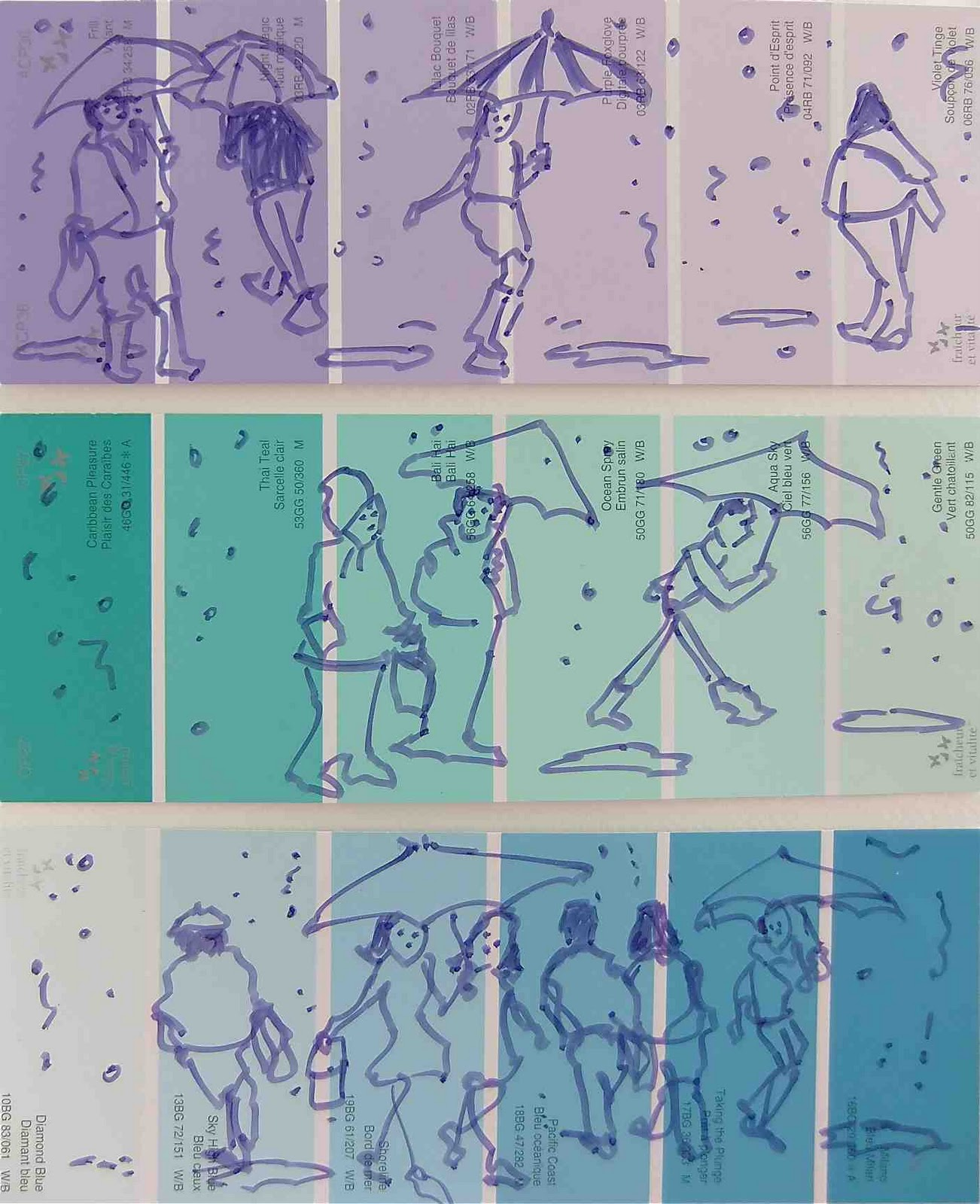 Drawing on paint swatch cards rainy day