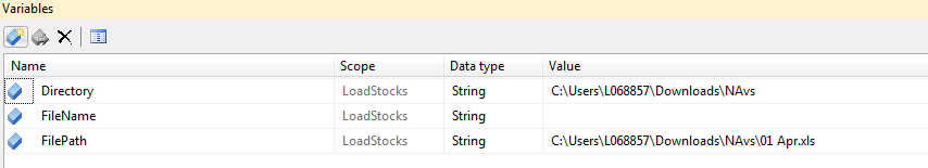 variables in excel