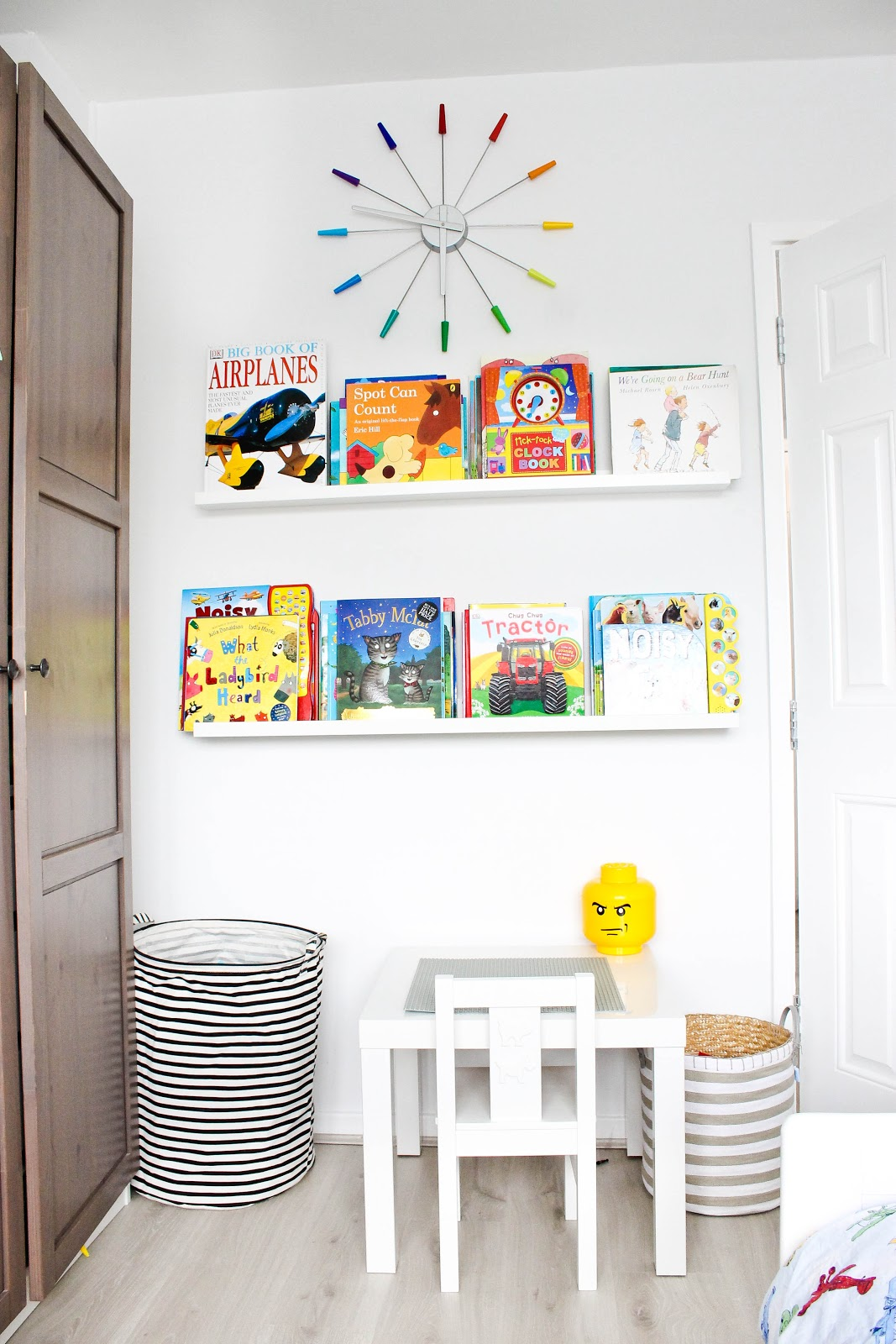 clever storage ideas for kids rooms, storage ideas for childrens rooms, kids interior decor, picture ledges for books,