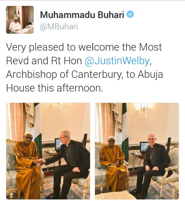 President Buhari Recieves Archbishop of Canterbury Justin Welby in London