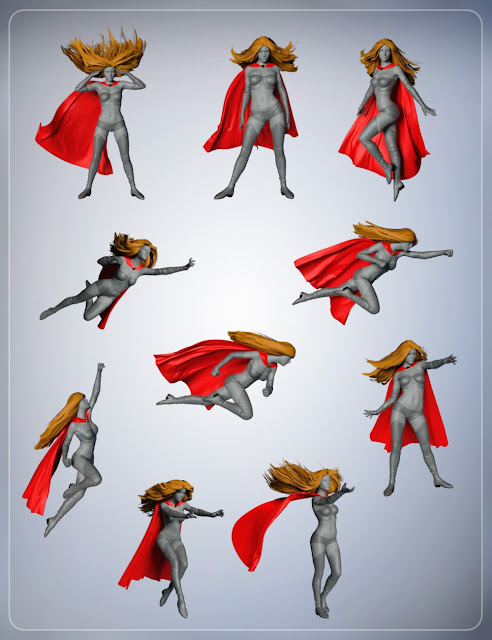 Super Cloak and Superhero Poses for Genesis 3 Female