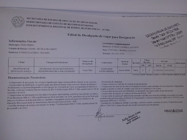 Escolas Estaduais de Ouro Preto realizam designação para preenchimento de 28 vagas nesta quarta-feira, 27 de julho