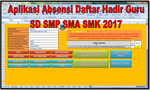 Aplikasi Absensi Daftar Hadir Guru SD SMP SMA SMK 2017