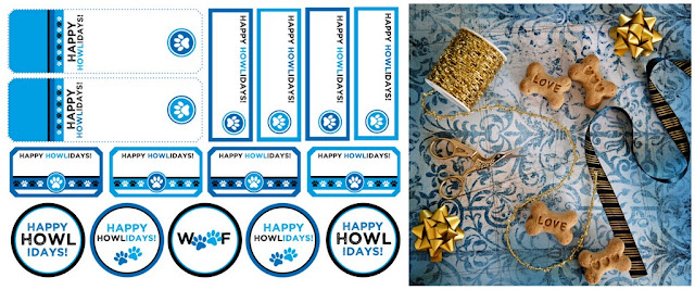 """Blue printable """"Happy Howlidays!"""" dog treat tags and labels with treats, bows, and ribbon"""
