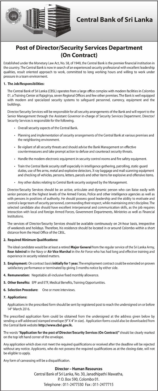 Vacancies - Director (Security Services Department)