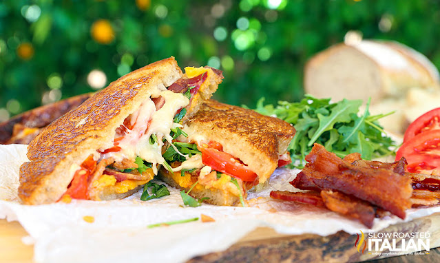 grilled gourmet sandwich with meats and cheeses