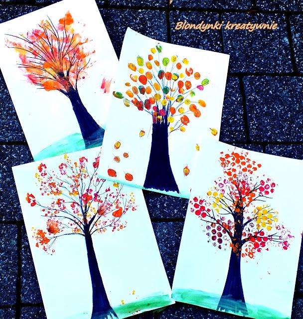 Jesienne drzewa w czterech odsłonach