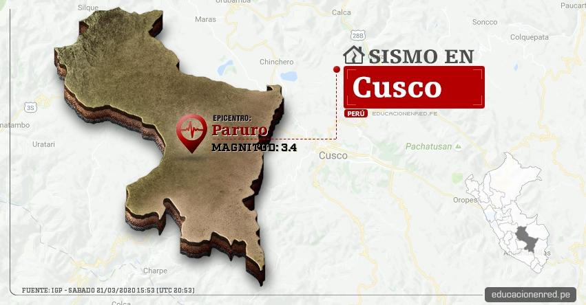 Temblor en Cusco de Magnitud 3.4 (Hoy Sábado 21 Marzo 2020) Sismo - Epicentro - Paruro - IGP - www.igp.gob.pe