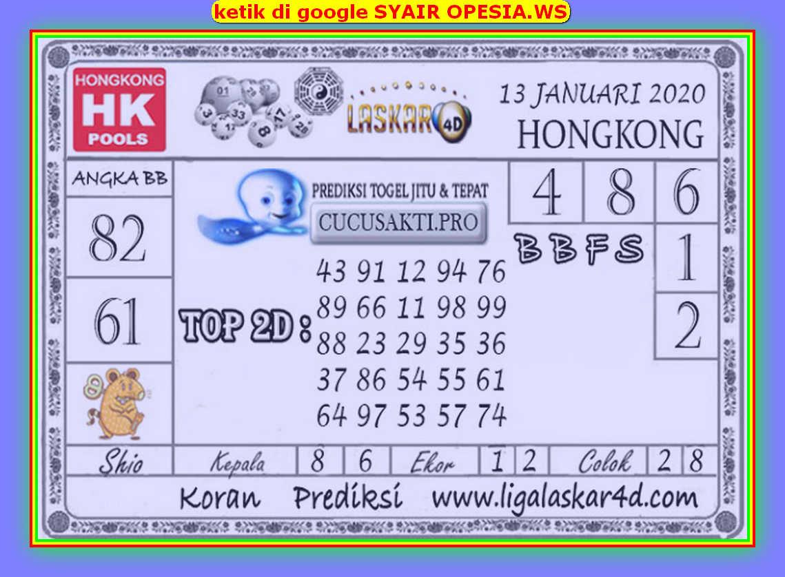 Kode syair Hongkong Senin 13 Januari 2020 153