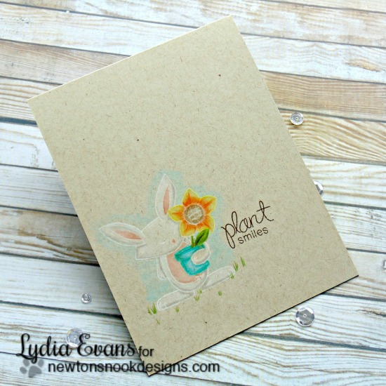 Plant Smiles Kraft colored card with Bunny by Lydia Evans | Garden Whimsy Stamp set by Newton's Nook Designs #newtonsnook #bunny