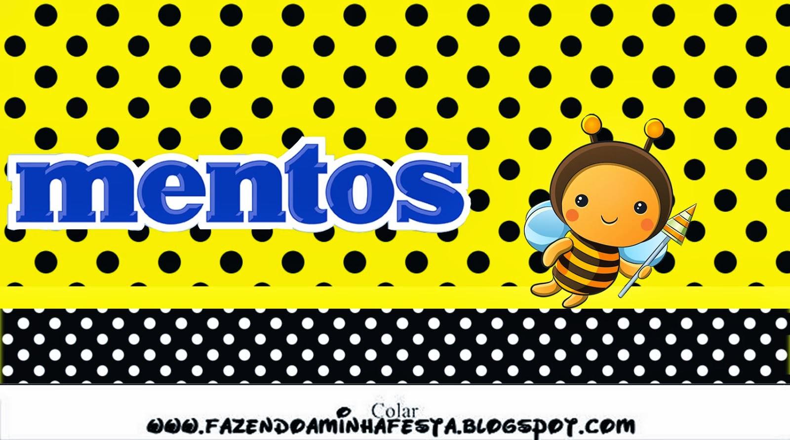 Etiqueta Mentos para Imprimir Gratis deAbejitas Bebé.