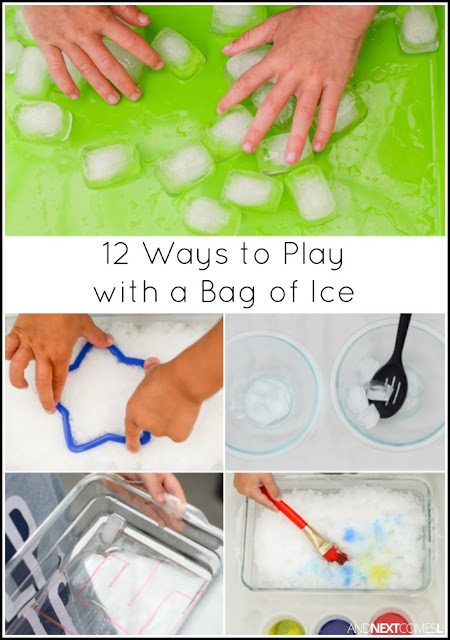 12 ways for kids to play with a bag of ice - simple and fun boredom buster activities for kids from And Next Comes L