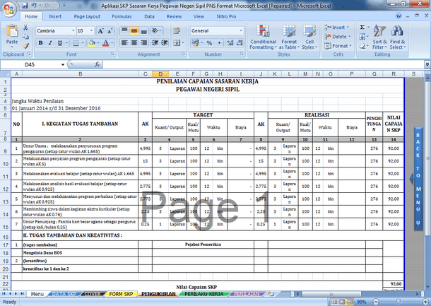 Aplikasi SKP Sasaran Kerja Pegawai Negeri Sipil PNS Format Microsoft Excel